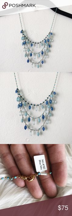 Anthropologie Chan Luu Blue Tiered Necklace • brand: chan luu sold at anthropologie  • condition: new  • size: one size  • description: blue semi precious stones on sterling silver   • trying to downsize my closet! bundle to save  + accepting reasonable offers, happy shopping! Anthropologie Jewelry Necklaces