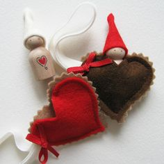 Waldorf Valentine Love Gnome -- I love you my little heart -- Red. $17.00, via Etsy.
