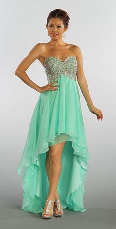 High Low Mint Green Chiffon Homecoming Dress Sweetheart Strapless