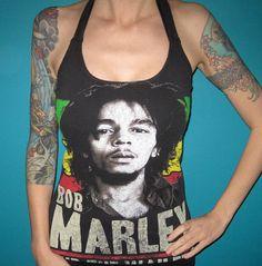 Bob Marley upcycled reggae hippie diy rock shirt by madfoxes, $18.00