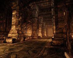 Shosalecht, corridoio dell'arena. Questo largo passaggio collega la camera d'assemblaggio con l'arena, dove probabilmente venivano messi alla prova i costrutti che venivano costruiti dai dweomer di un tempo.
