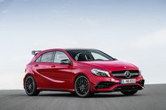 A redder A. The new generation of the A-Class is ready. [Mercedes-AMG A 45 4MATIC | Combined fuel consumption: 7.3-6.9 l/100 km | CO2 emission: 171-162 g/km | http://mb4.me/EfficiencyStatement]