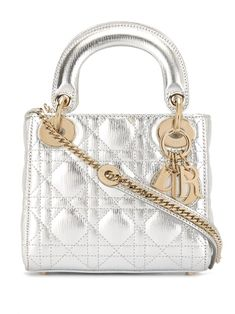 Christian Dior Pre-Owned Lady Cannage mini bag Dior Mini Bag, Lady Dior Mini, Christian Dior Bags, Silver Bags, Miss Dior, Metallic Leather, Purses, Burlesque, Accessories