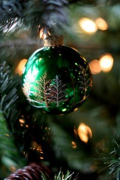 shiny, green, frosted Christmas ornament