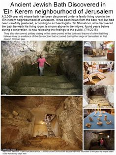 Ancient Jewish Bath Discovered in 'Ein Kerem' neighbourhood of Jerusalem (7/1/2015) ... to read the full story and to see the larger images click on image.