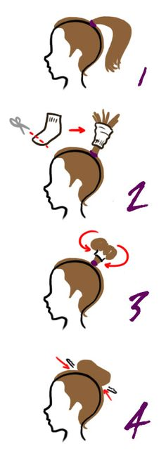 Another version of the sock bun. Dont roll the sock up. First put it in your hair, then roll your hair up in the sock.