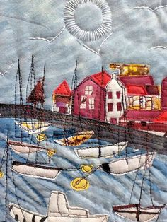 Ineke Berlyn & Art Textiles: Made in Britain Ineke Berlyn Patchwork Quilting, Applique Quilts, Art Quilting, Quilting Ideas, Free Motion Embroidery, Free Machine Embroidery, Art Rupestre, Landscape Art Quilts, Denim Art