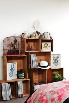 DIY shelves made from wooden boxes