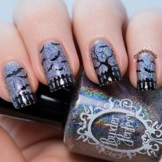 Halloween or bat nails. Polish is Microcosm by Powder Perfect. Stamp is aiyoo hehe 57.