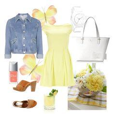 spring yellow by irialore on Polyvore featuring polyvore fashion style Closet Topshop CAFèNOIR Kate Spade Nixon Christian Dior