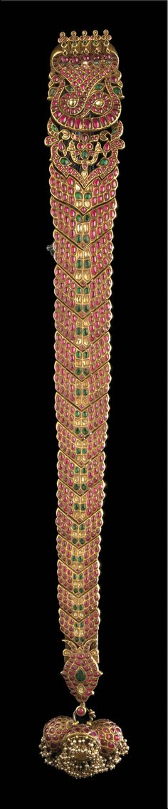 India | Hair ornament (jadai nagam); gold, rubies, emeralds, and diamonds | Tamil Nadu, 19th century