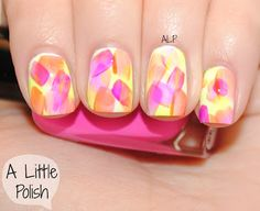 Ack! Love! Polishes used: -Sally Hansen - White On -Zoya - Tobey -Zoya - Paz -MiniLuxe - Lolita -Sinful Colors - Neon Melon