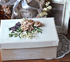 Silk & satin ribbon embroidered roses. http://caffeinatedkitten.wix.com/crafts