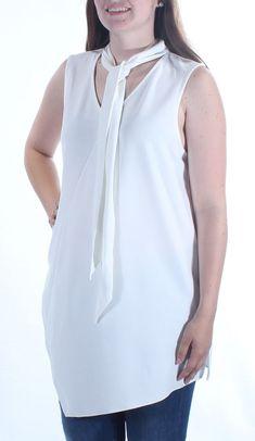 26eea6c580776 ALFANI  60 Womens 1653 White Sleeveless Casual Top L BB  fashion  clothing   shoes