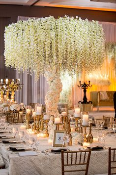 Wisteria Floral Centrepieces, Enchanted Wedding