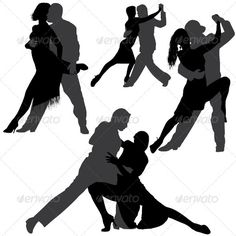 Tango and Salsa Vector Silhouettes #GraphicRiver Vector silhouettes of couples dancing tango or salsa.