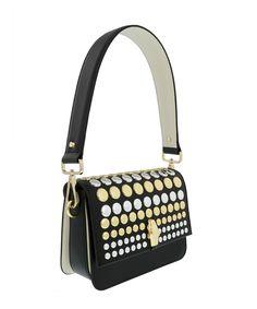ROBERTO CAVALLI Milano 005 Black/Off White Medium Shoulder Bag'. #robertocavalli #bags #shoulder bags #leather #pvc #