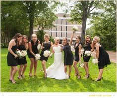 Bridesmaids photo...just have fun!  Cute Black Dresses.  Black Bridesmaids Dresses. Bridal Party Posing.  Flowers by Fresh Cut Catering and Floral. Planning by  http://kendallpooleeventplanning.com/  Photo by www.adamplusalli.com