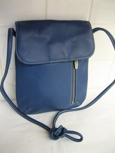 Vintage Tignanello Crossbody Messenger Purse Teal Blue Leather