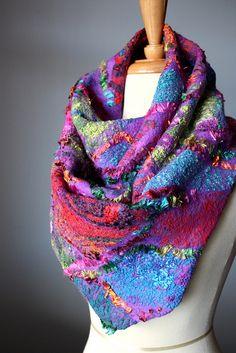I'd wear it if the felt was humanely fabricated. Nuno Felt Scarves by Svitlana Nuno Felting, Needle Felting, Nuno Felt Scarf, Felted Scarf, Poncho, Felt Art, Felt Crafts, Wool Felt, Felted Wool