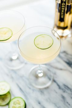 This refreshing cucumber elderflower gimlet recipe is made with Hendricks gin, St. Germain liqueur, fresh cucumber and lime! Cocktail Shaker, Champagne Cocktail, Cocktail Drinks, Fun Drinks, Yummy Drinks, Beverages, Cocktail Recipes, Drink Recipes, Craft Cocktails