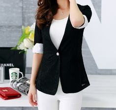 Women's Lace Blazer with Turn-up Sleeve