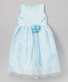 Another great find on #zulily! Blue Embroidered Floral Dress - Toddler & Girls #zulilyfinds