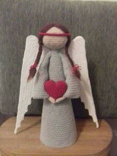 Crochet Dolls Design Amigurumi Angel Free English Pattern / Amigurumi Melek Ücretsiz Türkçe Tarif - Design By Ilona Janota Angel Crochet Pattern Free, Crochet Angels, Crochet Gifts, Easy Crochet, Free Crochet, Scarf Crochet, Crochet Amigurumi Free Patterns, Christmas Crochet Patterns, Crochet Projects