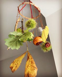 AUTUMN MOBILE Made using our box and some lovely things we found at the park . Autumn Eyfs Activities, Forest School Activities, Nursery Activities, Autumn Nature, Autumn Garden, Nature Nature, Class Displays, School Displays, Autumn Crafts