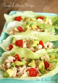 Tuna Lettuce Wraps meal idea from Six Sisters' Stuff | You will love this quick, delicious, and healthy recipe! Try it for lunch, dinner or post workout snack.