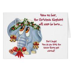 Humorous Funny Christmas Elephant Holiday Card