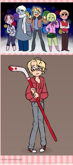Hetalia x Inside Out crossover. Canada as Riley, America as Joy, Russia as Saddens, Poland as Disgust, England as Anger, and Italy as Fear.