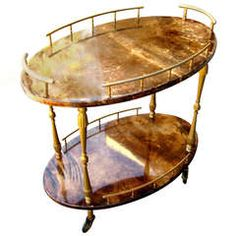 A Diminutive Italian 1950's Aldo Tura Goat Skin Vellum Side Table/drinks Cart .