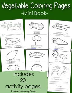 Download a 20-page set of free vegetable coloring pages!