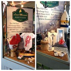 Lisa Marie's Made in Maine display at the Portland International Airport includes our Anchor baby bib and booties!