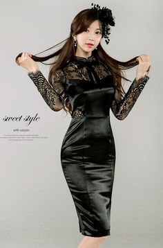 Black Satin Dress with Lace Sleeves