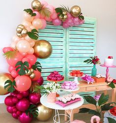 12 Creative First Birthday Party Ideas Your Little One Will Love in 2019 Flamingo Party, Flamingo Birthday, Luau Birthday, First Birthday Parties, First Birthdays, Birthday Ideas, Happy Birthday, Balloon Garland, Balloon Decorations