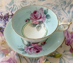 Paragon Pink Cabbage Rose on Robin's Egg Blue or Light Turquoise, Tea Cup and Saucer, Double Warrant Fine Porcelain, Porcelain Ceramics, Painted Porcelain, Tea Cup Saucer, Tea Cups, Turquoise Background, White Cups, Robins Egg, My Cup Of Tea