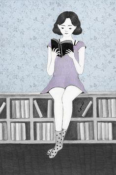 Summer in books / Verano entre libros (ilustración de Miss Cyndi)