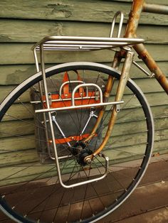 Handmade touring bicycle, rack, and pannier.