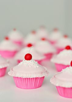 cupcakes Rose cupcake by Call me cupcake Fabulously cute, super girly Pinkalicious Cherry Cupcakes. Cherry Cupcakes, Sweet Cupcakes, Love Cupcakes, Yummy Cupcakes, Cupcake Cookies, Sundae Cupcakes, Valentine Cupcakes, Cupcake Toppers, Valentines