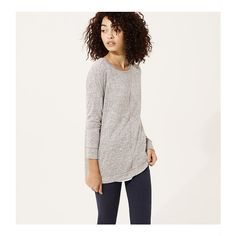 LOFT Lou & Grey Slinky Spacedye Tunic ($40) ❤ liked on Polyvore featuring tops, tunics, misty grey heather, gray tunic, side slit top, long sleeve tunic, boat neck tunic and loft tops
