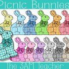 Sweet Picnic Easter Bunny Clipart by The 3AM Teacher!! $3