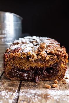 Looking for a delicious, chocolatey twist on plain old pumpkin bread? Try this Molten Chocolate Pumpkin Streusel Bread from halfbakedharvest.com.