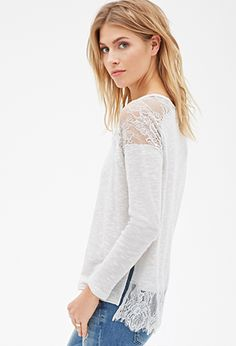 Lace Slub-Knit Top | LOVE21 - 2000116882