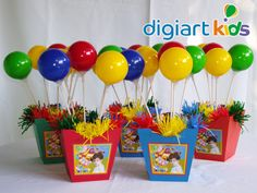 Candy Centerpieces, Balloon Decorations, Birthday Decorations, Carnival Themed Party, Circus Theme, Party Themes, Boy Birthday Parties, 2nd Birthday, Birthday Ideas