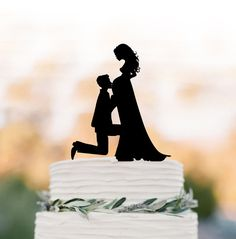 pregnant bride Wedding Cake topper funny, Bride and groom silhouette , cake decor, long hair bride