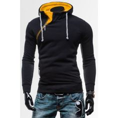 Novel Inclined Zipper Embellished Hooded Color Block Slimming Long Sleeves Men's Hoodie-12.36 and Free Shipping| GearBest.com
