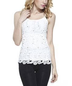Love this White Floral Crochet Beaded Tank - Women on #zulily! #zulilyfinds
