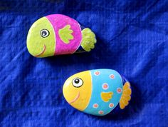 Fish painted on stones